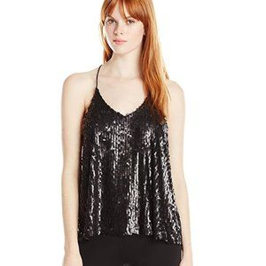JOA Los Angeles Black Sequin Tank